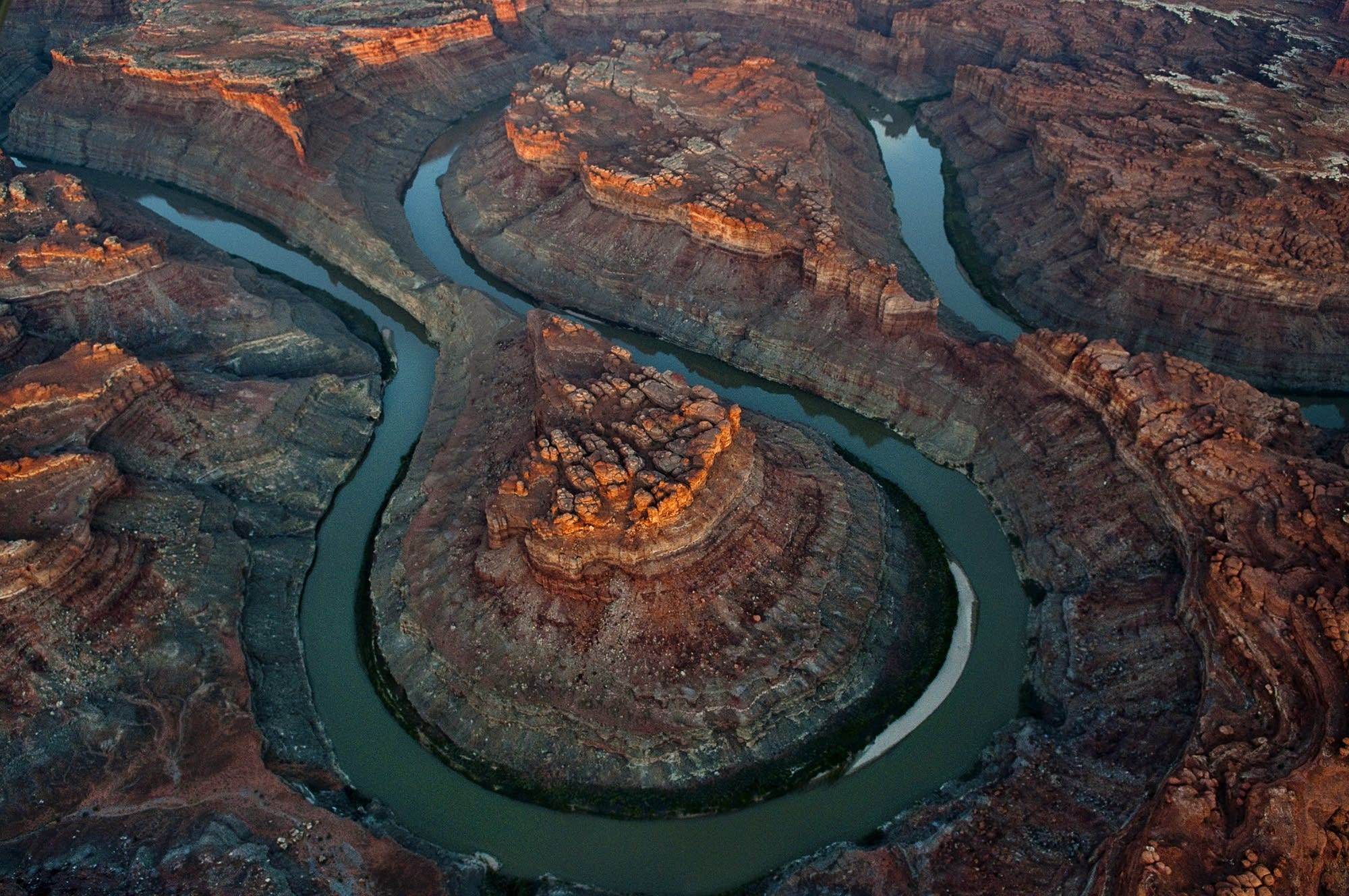 Aerial view at sunrise of the double oxbow 'Loop' in Canyonlands.
