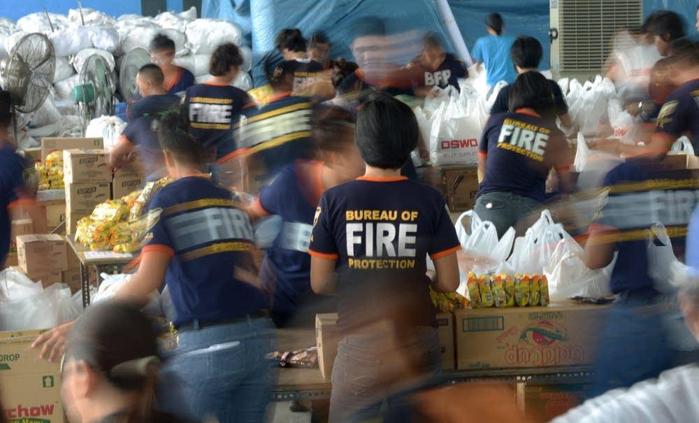 Typhoon relief workers