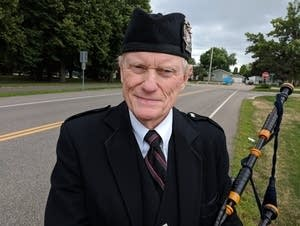 Bill Gilchrist with his bagpipes