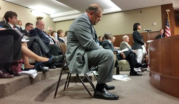 DFL Senate majority leader Tom Bakk listened.