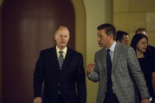 Paul Gazelka and Kurt Daudt head into a meeting with Gov. Mark Dayton.