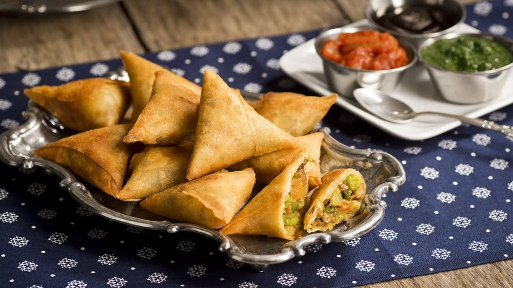 Spiced Chicken and Onion Samosas