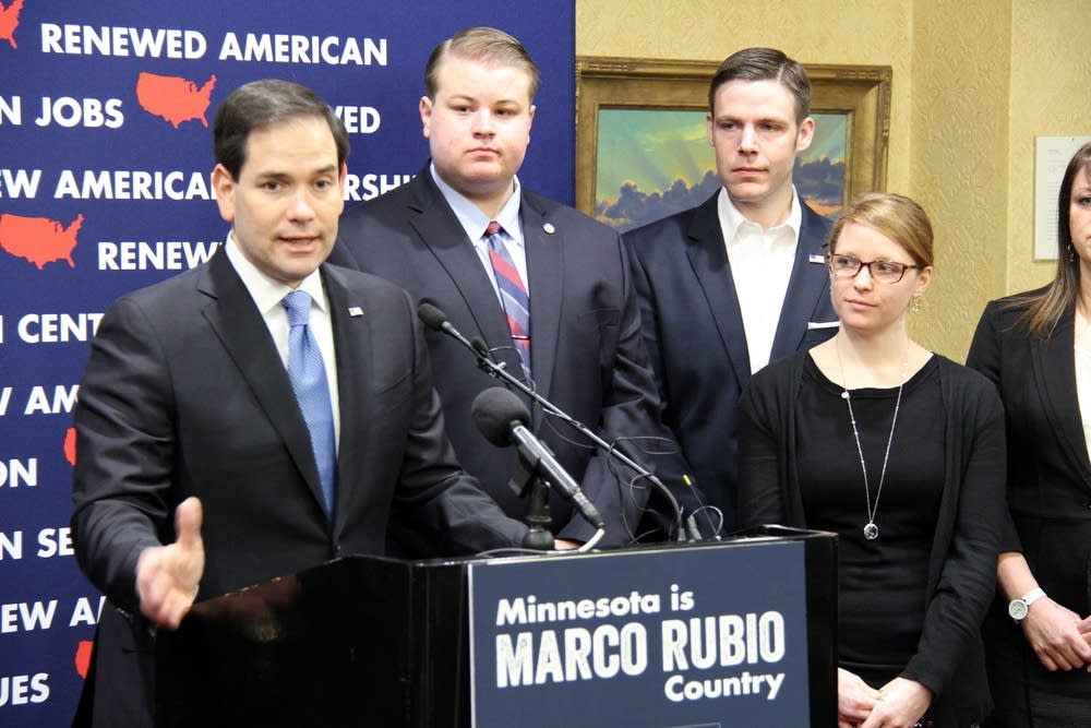 Marco Rubio and supporters in Minneapolis