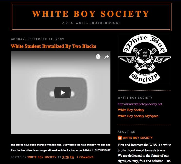 The White Boy Society claims it is 'not a hate group or a supremacy group.'
