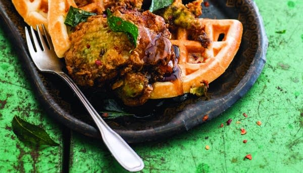 Keralan Fried Chicken, Lowcountry Cardamom Waffles, and Spicy Maple Syrup
