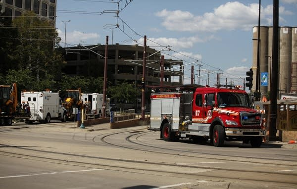 The light rail system is shut down along University Ave.