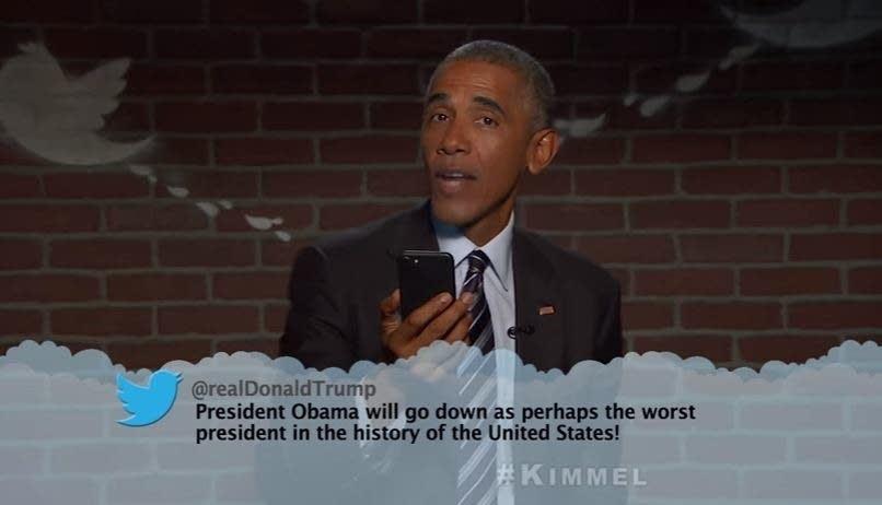 Obama reads presidential 'mean tweets'