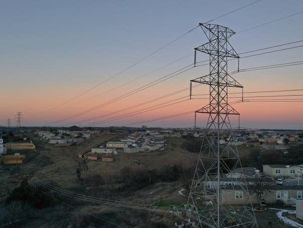 Electrical lines running through a neighborhood
