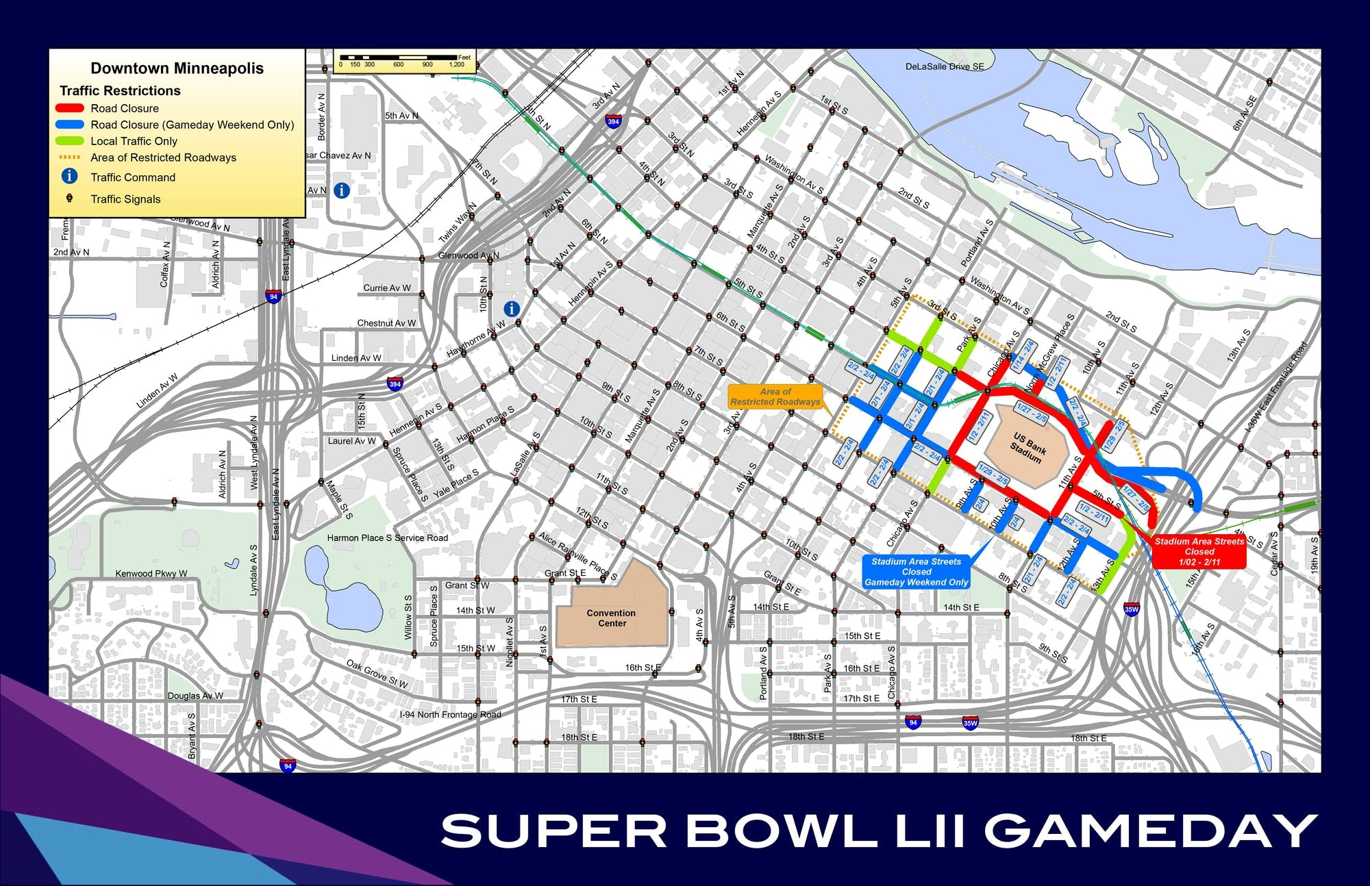 a map showing road closures and restrictions around us bank stadium