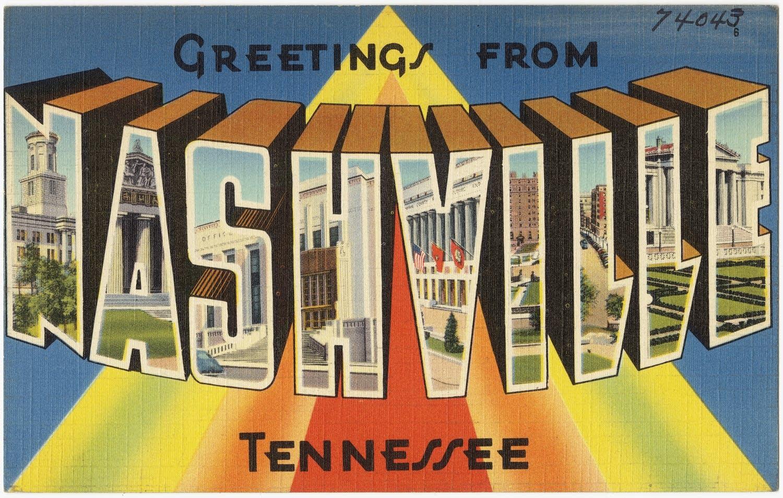 nashville, vintage postcard