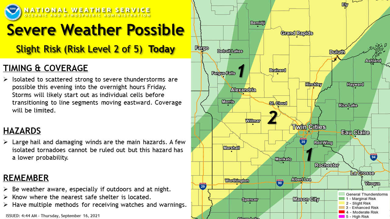 Severe weather risk areas through 7 am Friday