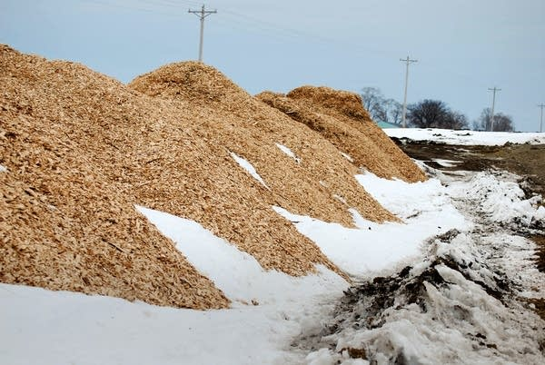 A pile of woodchips wait to be mixed into the topsoil