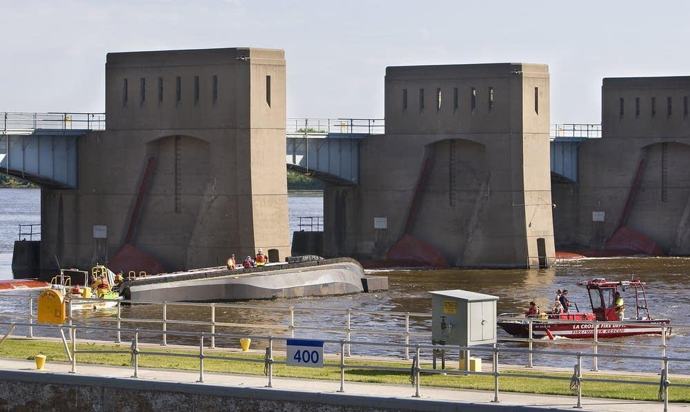 Overturned barge