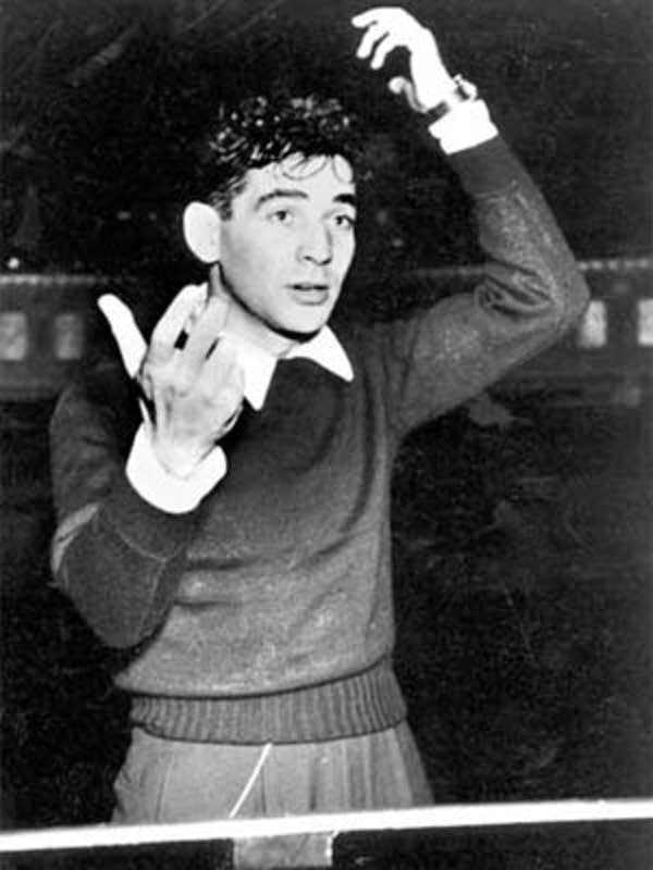 Leonard Bernstein conducting in the 1940s.