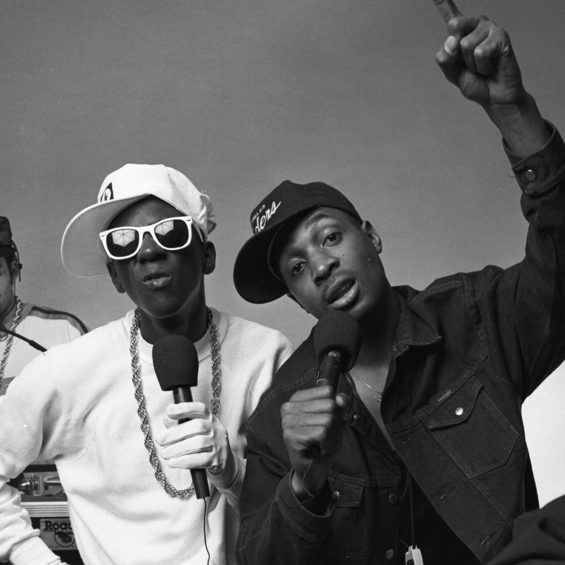 Flavor Flav, left, and Chuck D, photographed on May 1, 1987