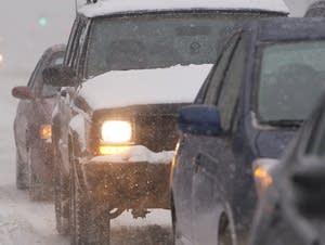 Traffic backs up along Washington Ave. So., in Minneapolis.