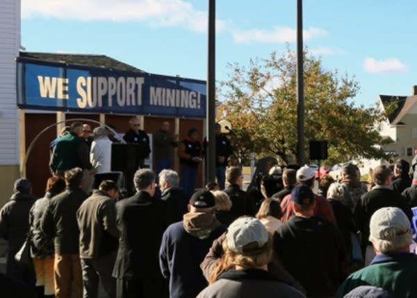 A rally in support of PolyMet copper nickel mine