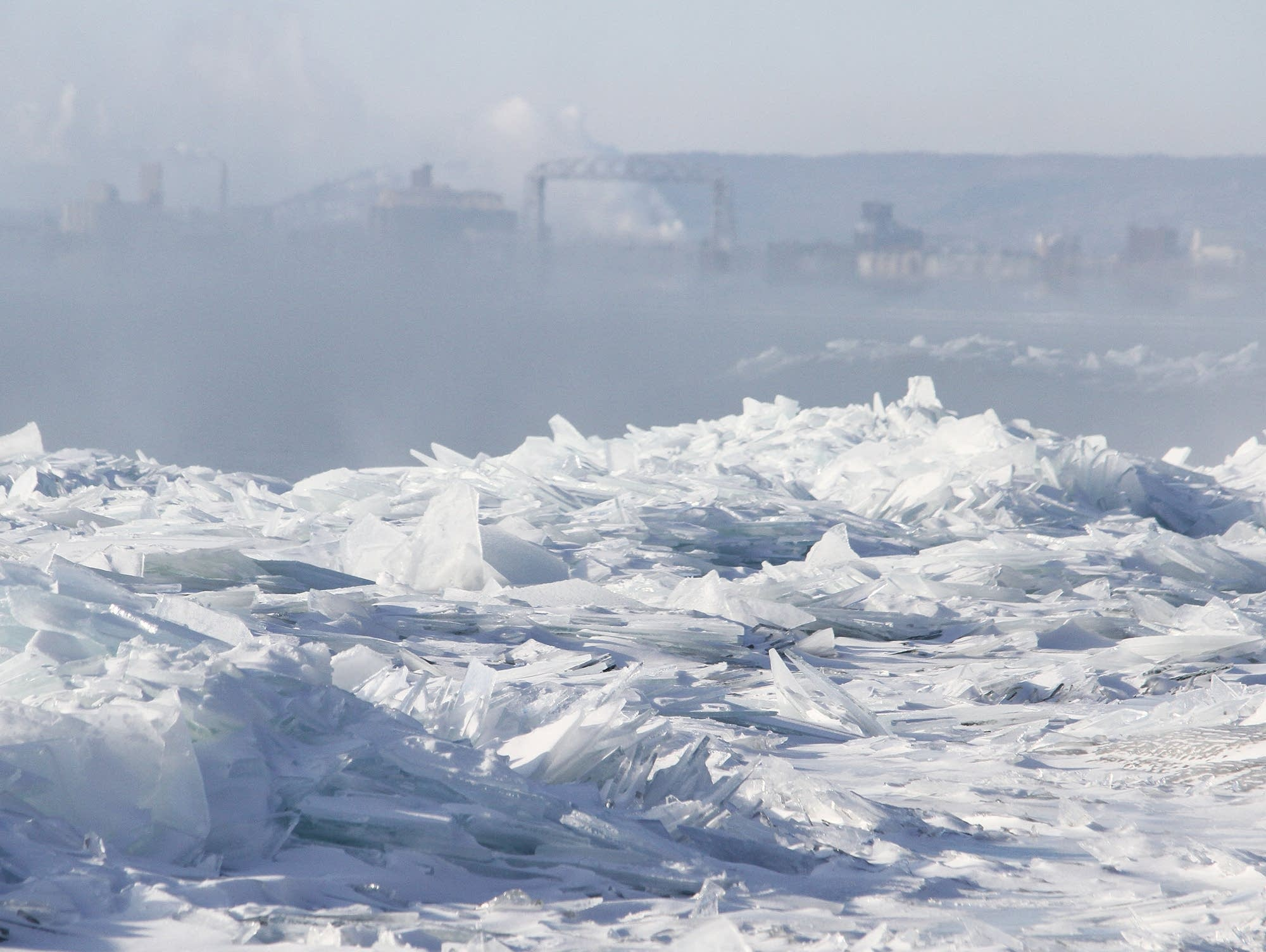 Icy shore of Lake Superior at Brighton Beach in Duluth