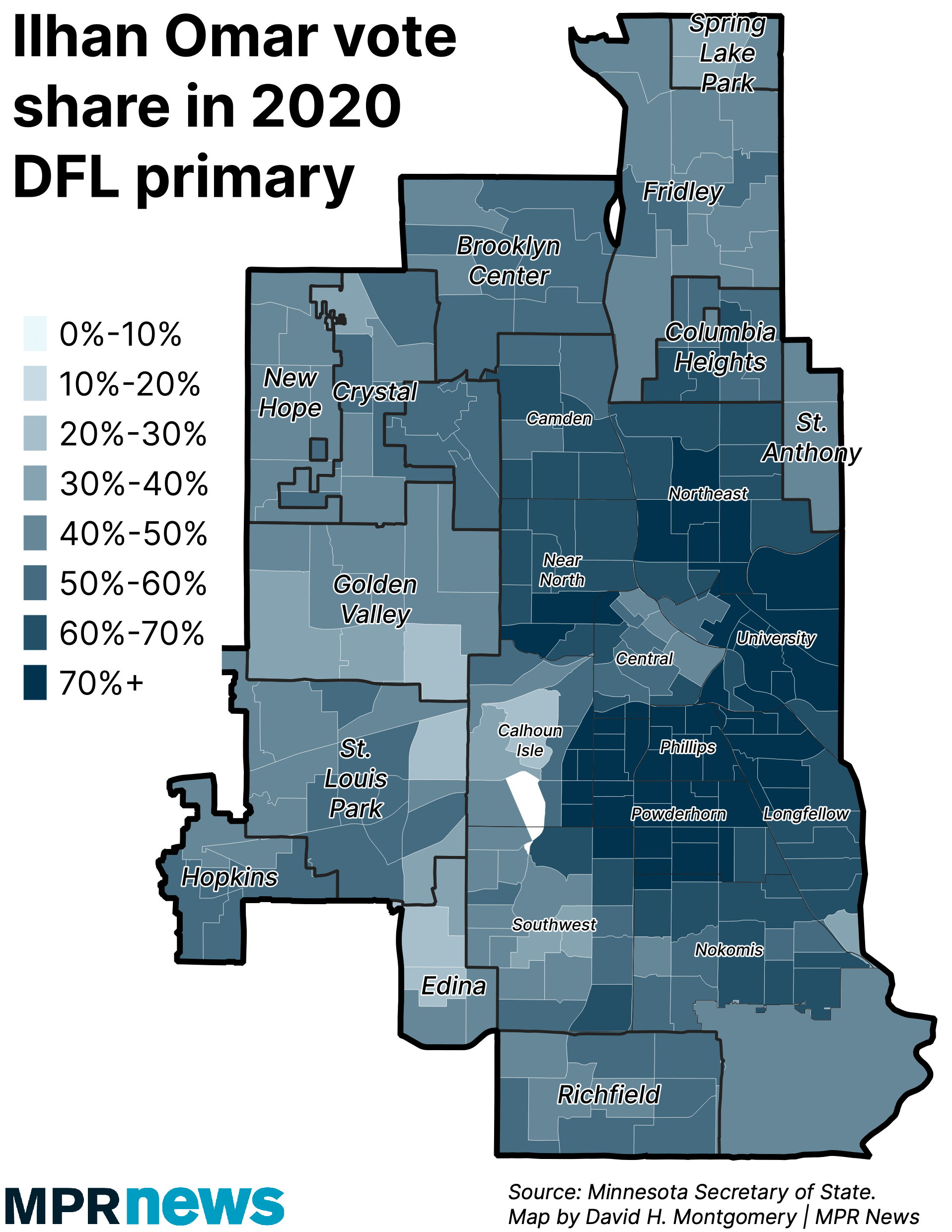 Rep. Ilhan Omar vote share in 2020 DFL primary