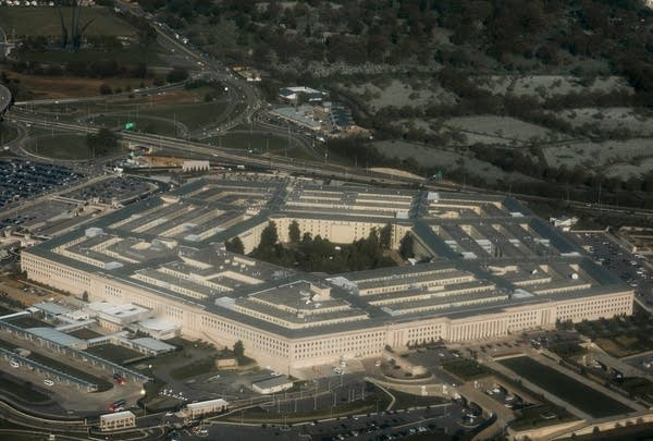 An aerial photo of a pentagon shaped building.