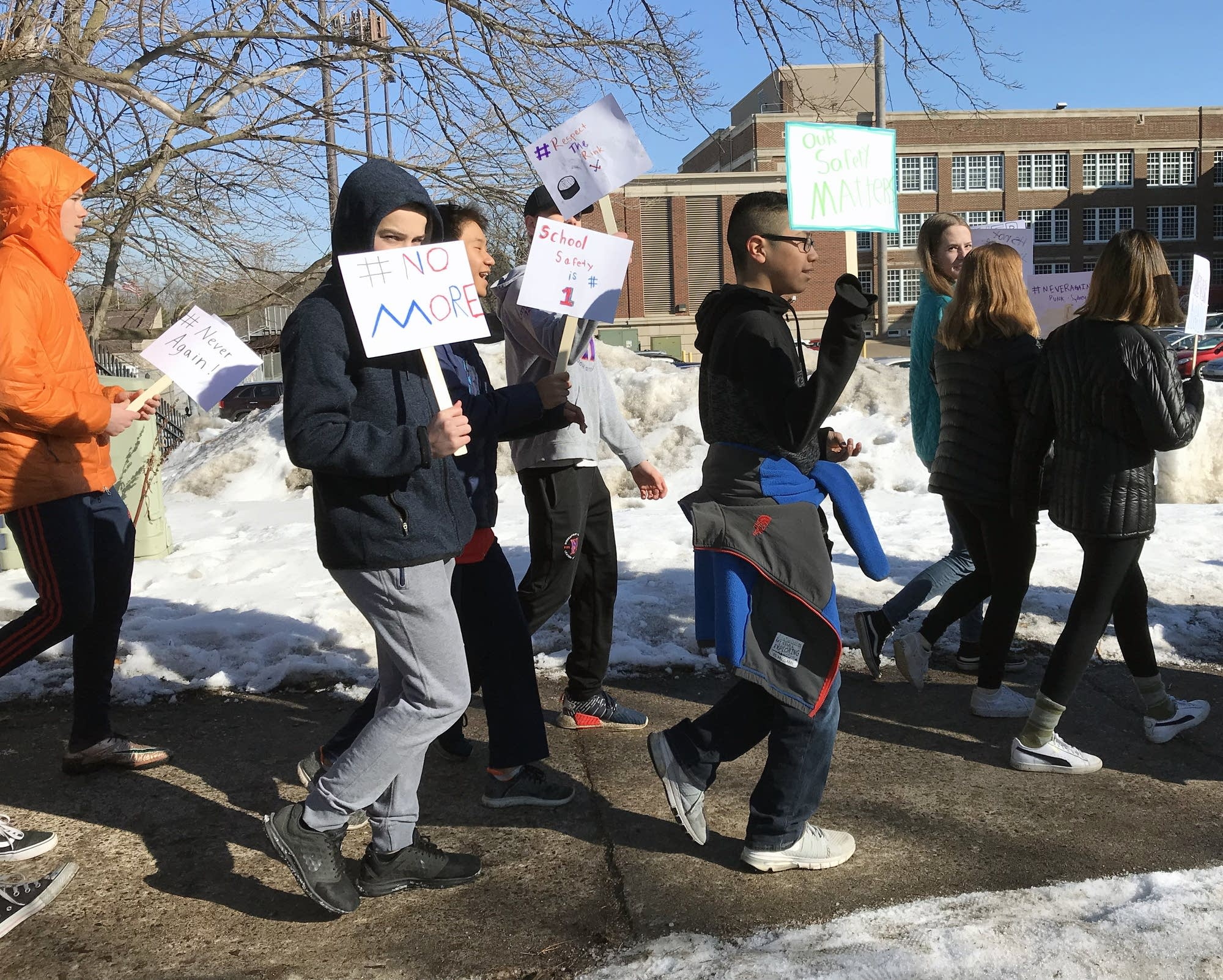Students walk out of class at in south Minneapolis.