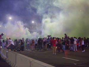 Police used mace and smoke bombs.