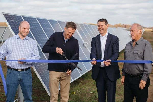 The ribbon is cut at the North Star Solar Facility