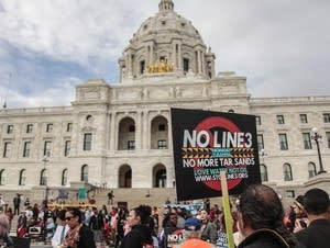 Hundreds gathered at the Capitol to protest an oil pipeline.
