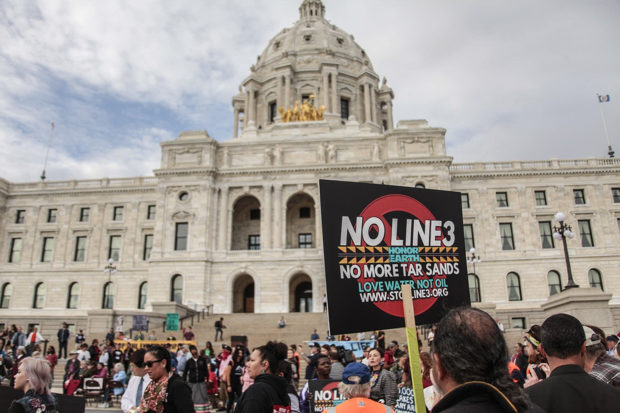 Hundreds gathered at the Capitol to protest the Enbridge pipeline.