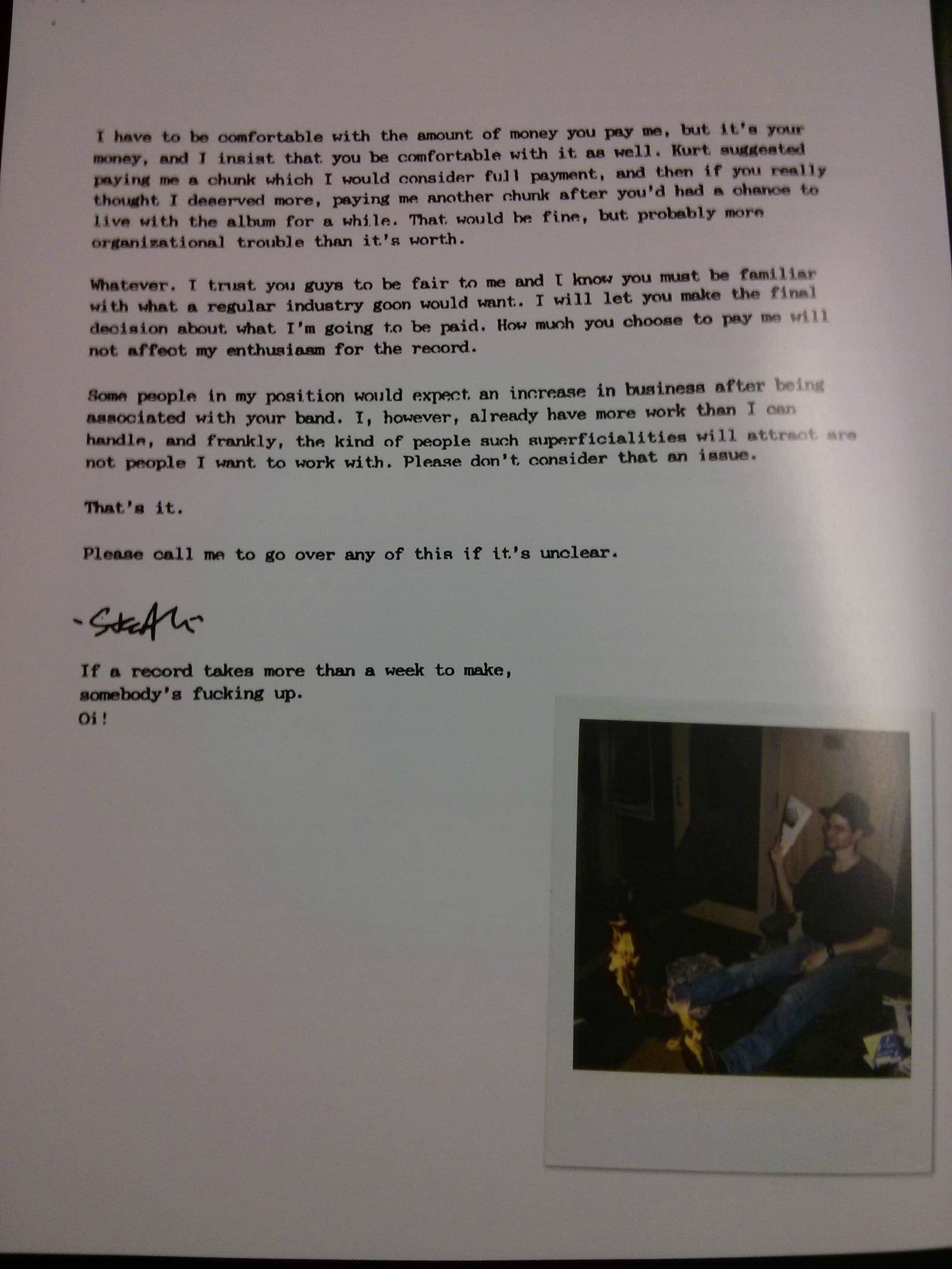 Steve Albini's letter to Nirvana