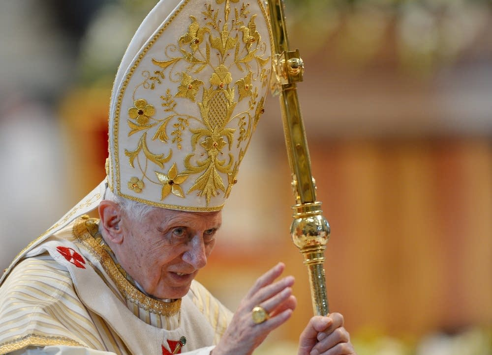Pope Benedict XVI blessing the faithful