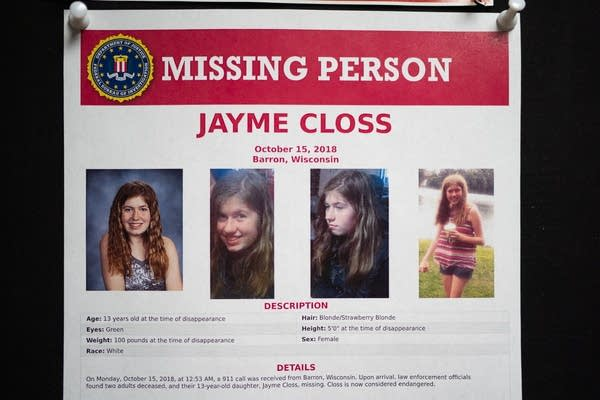 A missing poster for Jayme Closs hangs inside the Barron Community Center.