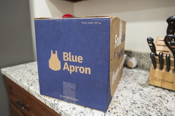 A Blue Apron box waits to be opened on a kitchen counter on June 28, 2017.