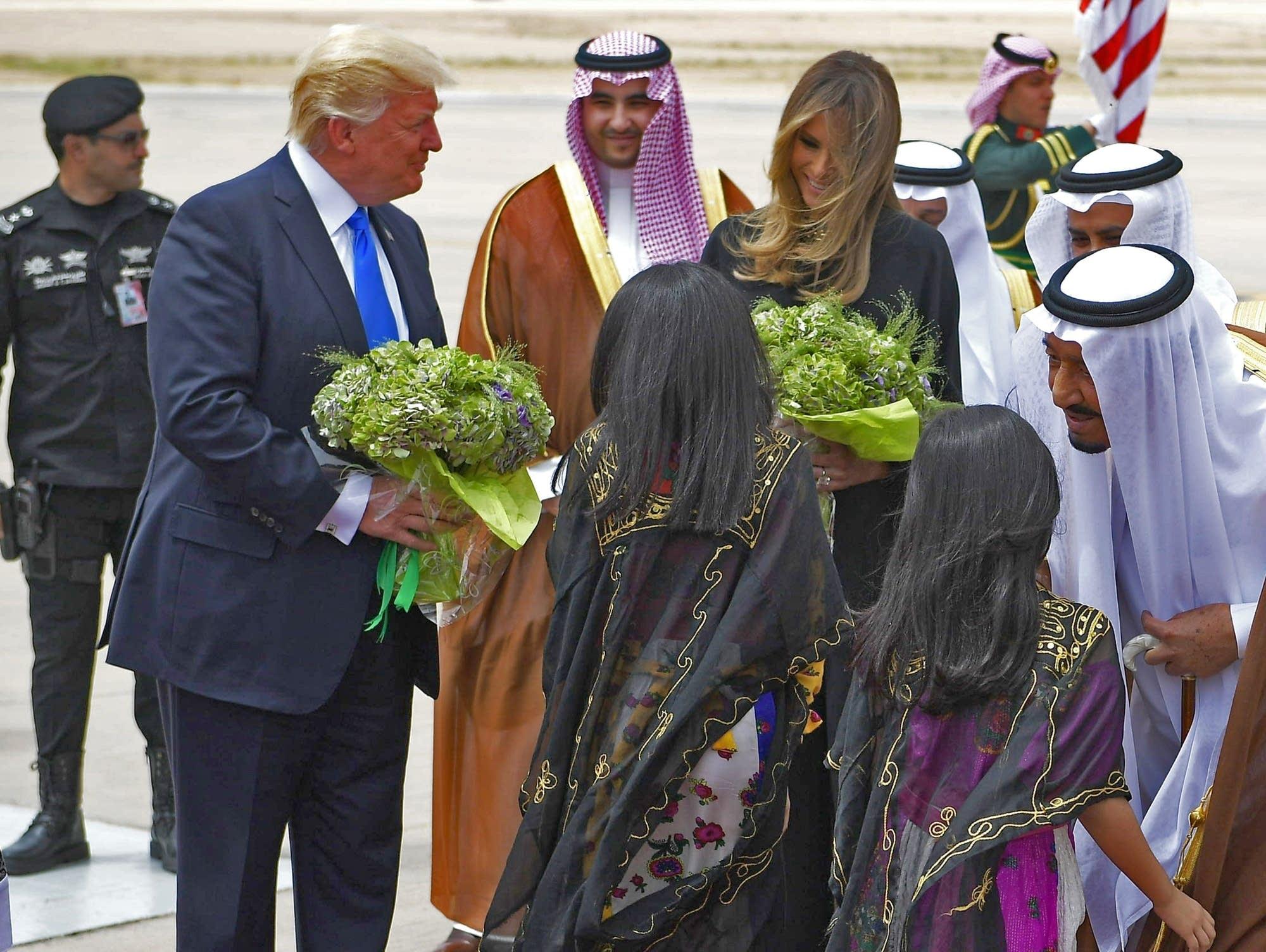 President Donald Trump and First Lady Melania Trump arrive in Saudi Arabia