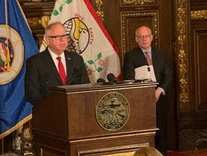 Gov. Tim Walz presents his revised budget.