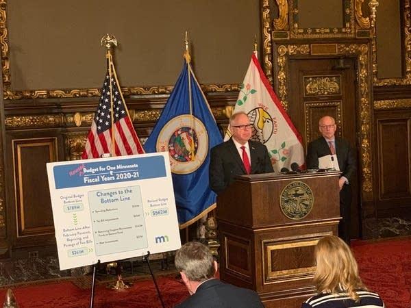 Gov. Tim Walz presents his revised budget.