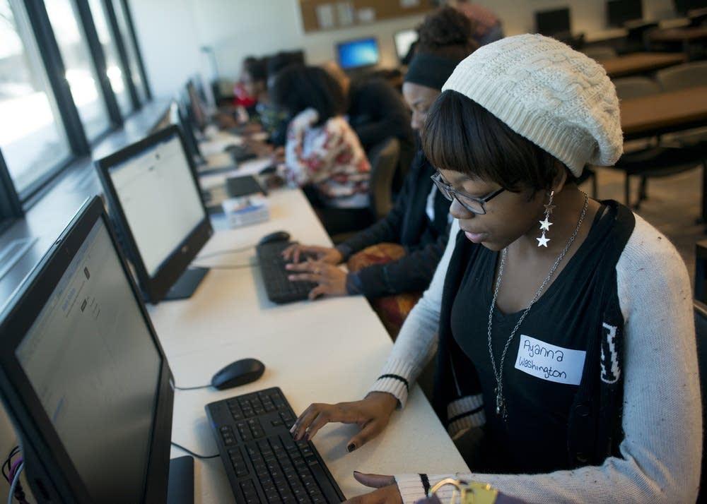 Ayanna Washington works through a coding problem.