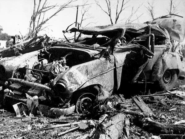 The tornado that struck Tracy, Minn. destroyed about 150 vehicles.