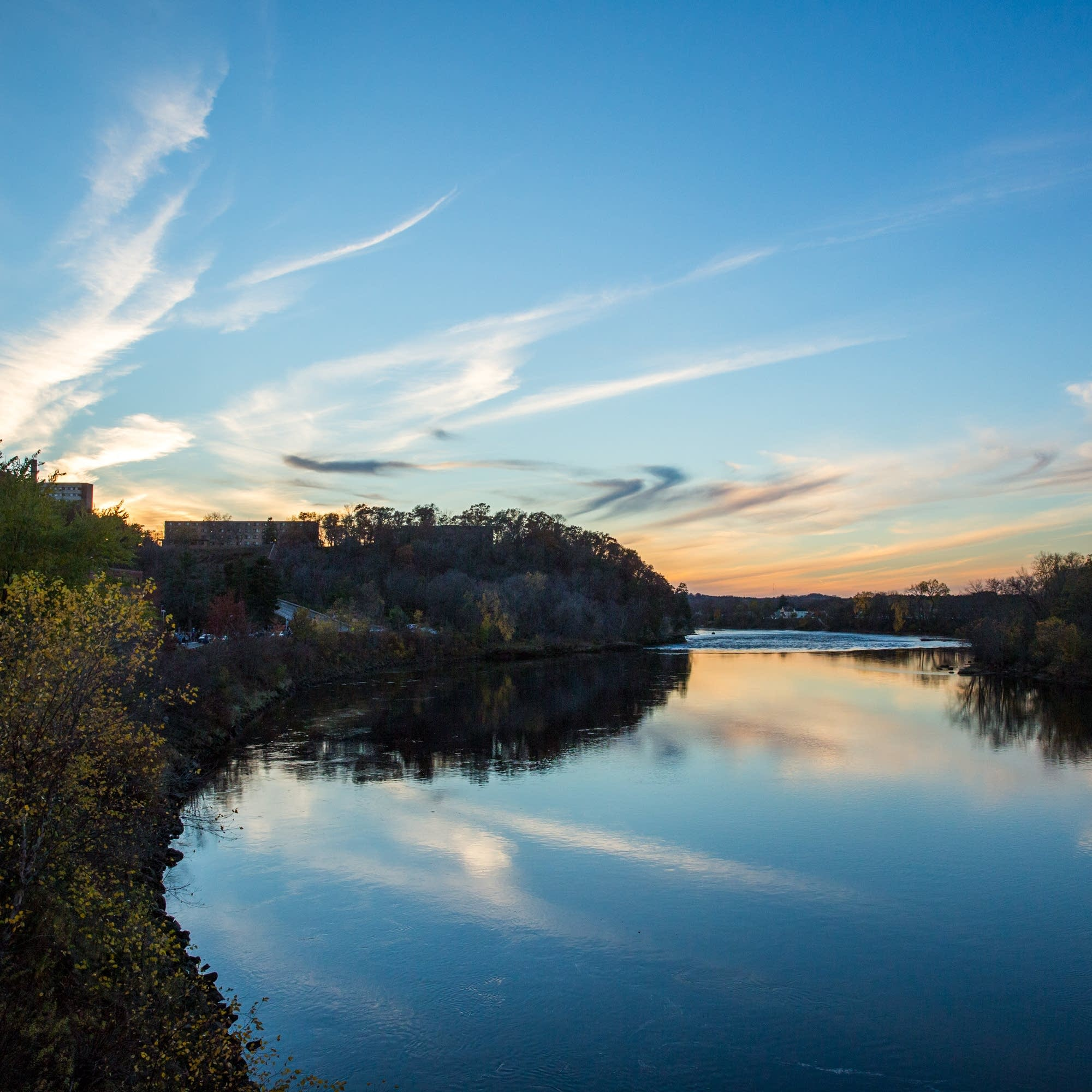 The sunset sky reflects on the Chippewa River.