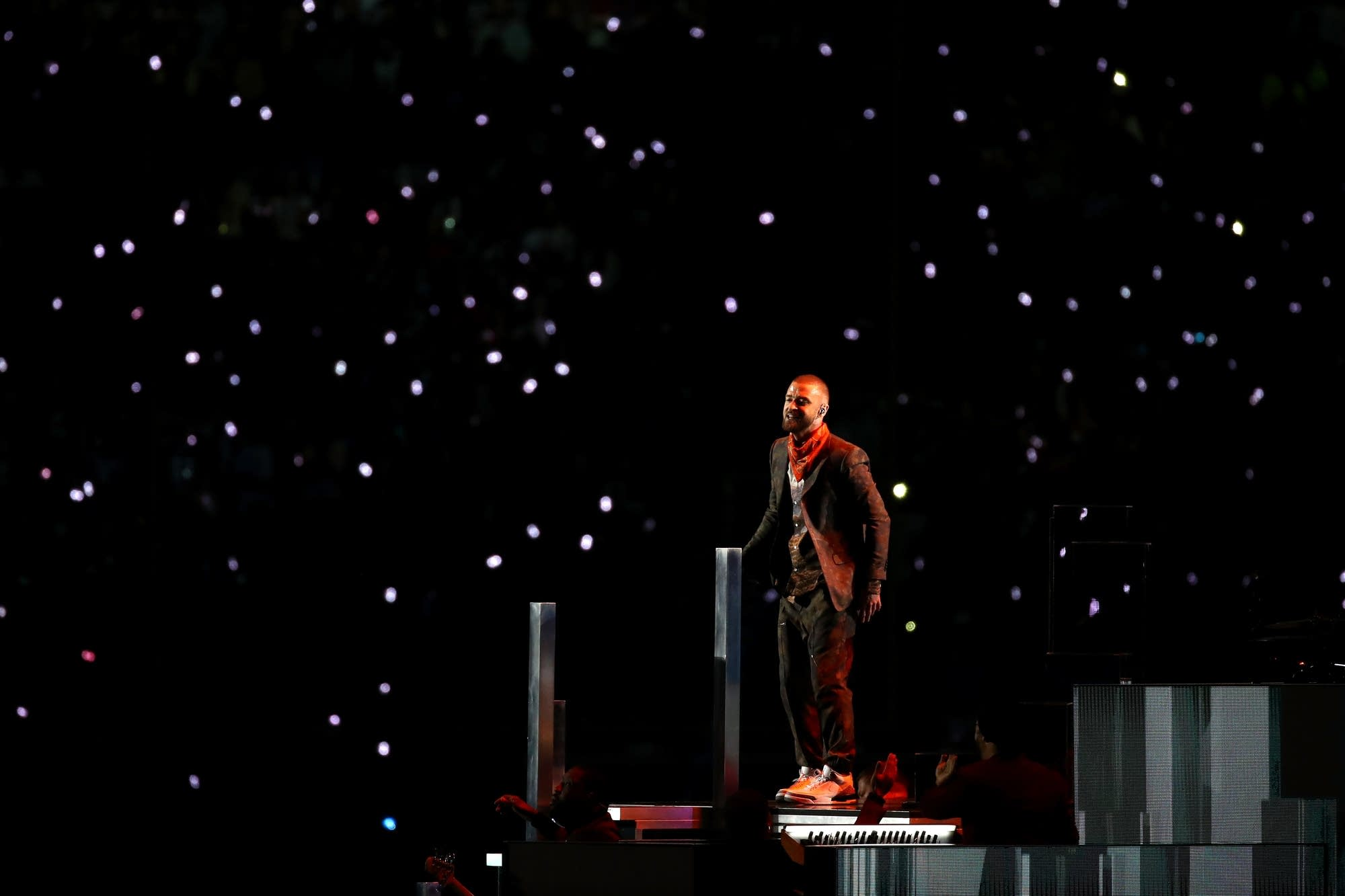 Justin Timberlake performs during the Super Bowl LII Halftime Show.
