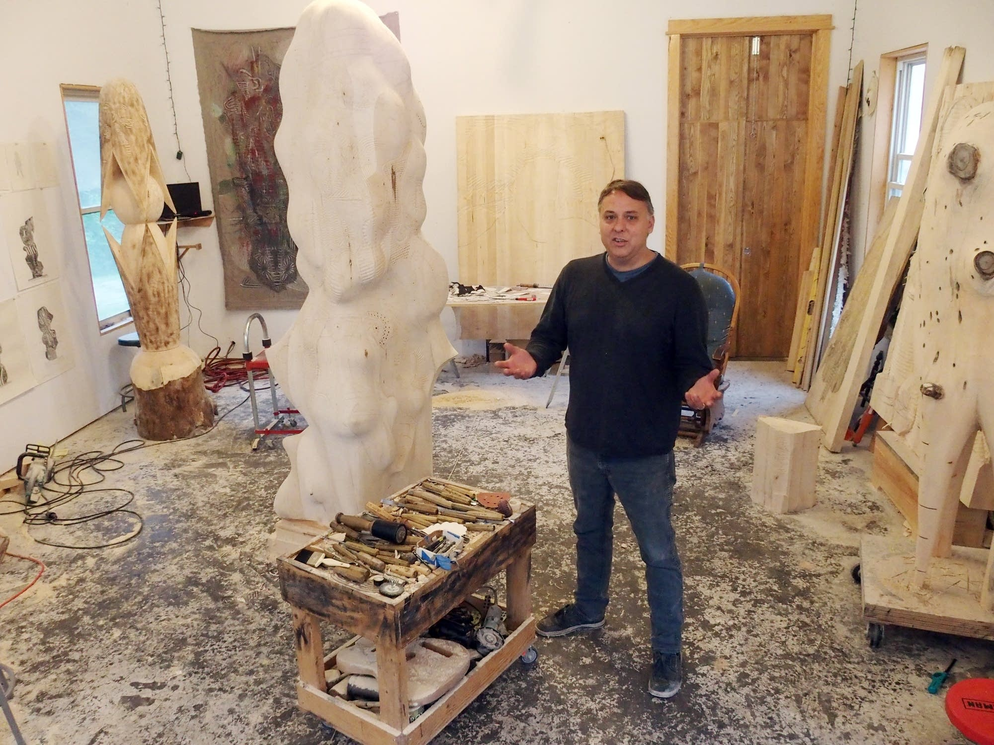 Aaron Spangler in his studio in Park Rapids.