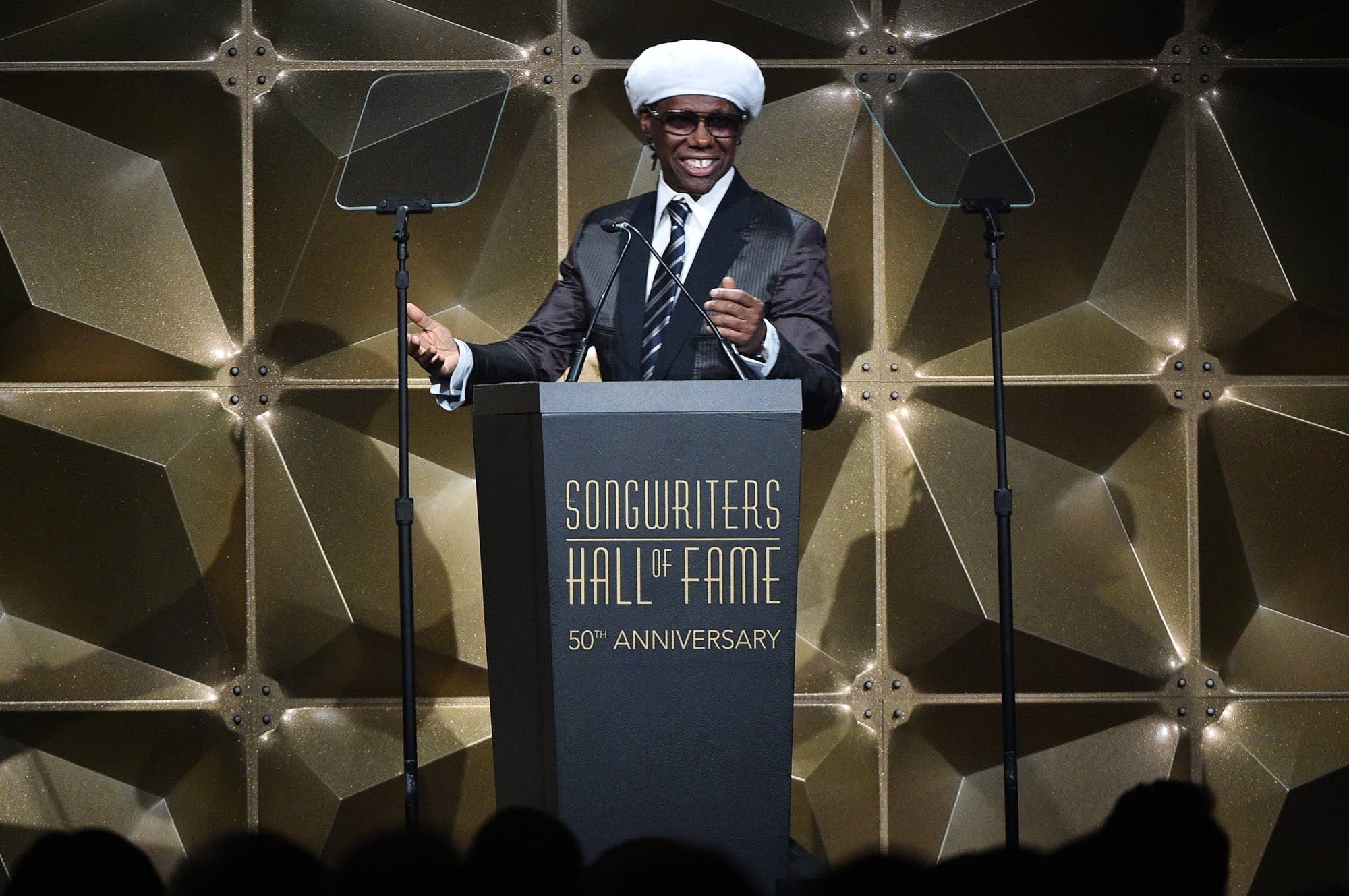 Nile Rodgers speaking at the Songwriters Hall of Fame induction ceremony