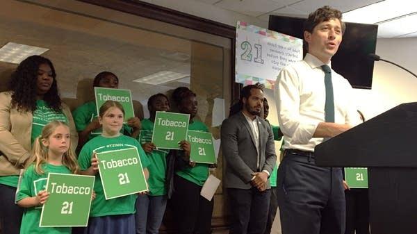 Minneapolis mayor Jacob Frey congratulates young supporters.