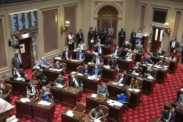 Senators work on the floor Monday Feb. 27, 2017 in St. Paul.