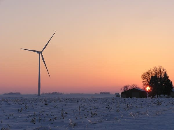 A wind turbine near Blue Earth is part of expanding wind energy production.