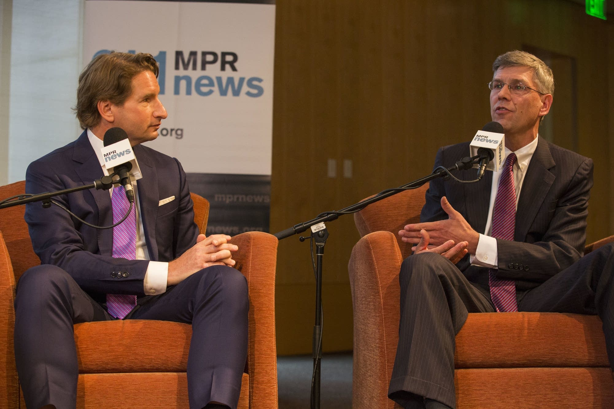 Dean Phillips and Erik Paulsen debate at the UBS Forum at MPR on Oct. 5.