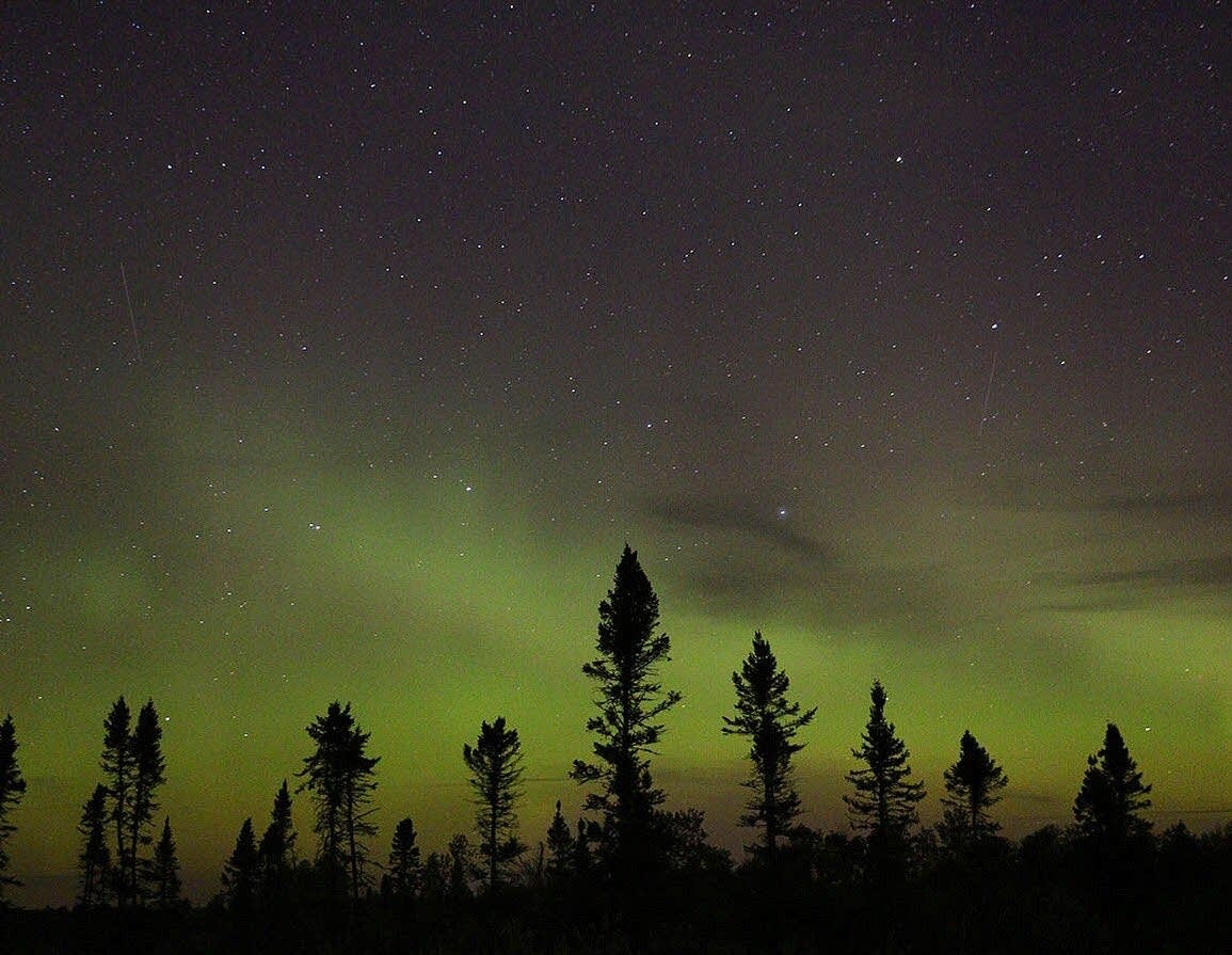 Northern lights in the sky north of Duluth.