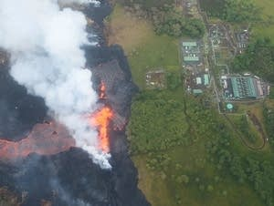 Lava from the Kilauea volcano approaches Puna Geothermal Venture plant.