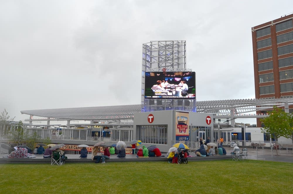 A screen was set up outside Target Field