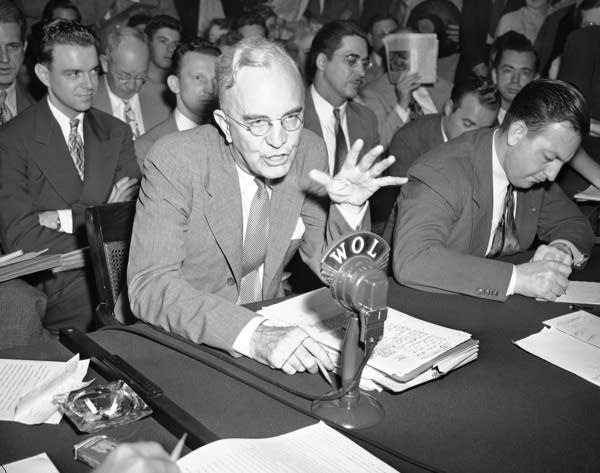 Dillon S. Myer testifies in Washington in 1947.